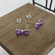 US Seller Violet Ribbon Crystal Titanium Post Stud Earrings Made in Korea