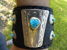 Leather cuff Bracelet made by Navajo Indian Bolo sterling silver OLD PAWN
