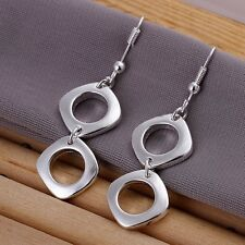 Ladies 925 Sterling Silver Double Squared Fashion Casual Drop Earring Gift