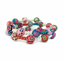 Pretty Boho Fimo Clay Beads Memory Wire Bracelet Pinks Red Green Multi Coloured