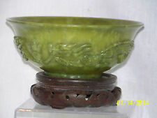 Chinese Hand Carved Hetian Jade Large Bowl w/Custom Made Box