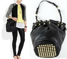 New Punk Bottom Studded PU Leather Bucket Shoulder Bag Tote Handbag with Strap