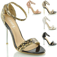 LADIES HIGH HEEL ANKLE STRAP WOMENS STILETTO METAL STRAPPY SANDAL SHOES SIZE 3-8