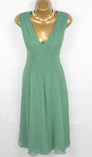 JIGSAW Green Embroidered 100% Silk Flare Dress UK 12