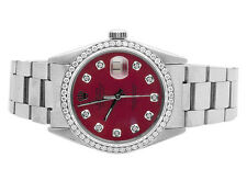 Mens Rolex Datejust 36MM Quickset 16014 Oyster Red Dial Diamond Watch 1.75 Ct