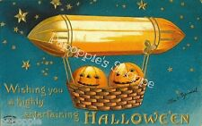 Fabric Block Vintage Halloween Postcard Image Hot Air Balloon Ellen Clapsaddle