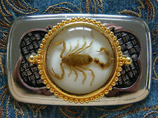 NEW  EXCLUSIVE SCORPION BELT BUCKLE  SILVER/BLACK/GOLD METAL ,WESTERN,COWBOY