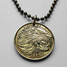 Ethiopia 10 Santeem cent coin pendant necklace Roaring Lion of Judah Rastafari
