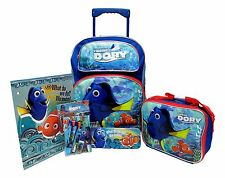 "FINDING DORY ROLLING 16"" BACKPACK,PENCIL CASE,STATIONARY SET + LUNCHBOX-NEW!"