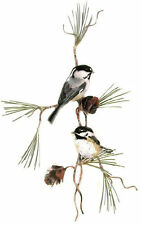 Two Chickadees & Pine Cones Metal Bird Wall Art Decor Sculpture- by Bovano W4435