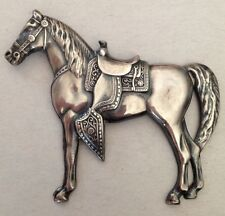 Vintage Sterling Silver Horse Pin Brooch Beautiful Detail