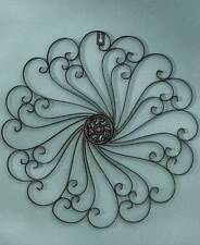 Black Metal Iron Wall Medallion Scroll Sculpture Antiqued Finish Large Decor Art