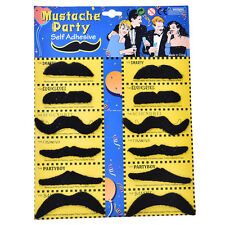 12pcs/set Costume Party Halloween Fake Mustache Funny Fake Beard Whisker EW