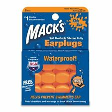 Mack's 10 Pillow Soft Ear Plugs - Kid Size Swimming Waterproof Pack 6 Each