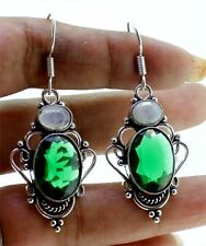 LOVELY ! 925 Silver Plated #GREEN ONYX WITH MOONSTONE# Women Earring 55 MM