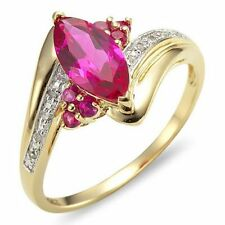 Jewellry Size 9 Womens Luxury Popular Emerald Cut Ruby Gold Filled Halo Rings