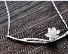 Lotus Flower 925 Silver Plated All_match Women Pendant Necklace Chain Jewelry