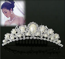 Elegant Imitation Pearl Rhinestone inlay Crown Tiara Wedding Bride Hair Comb