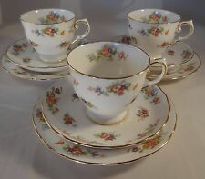 3 Vintage Tuscan China Floral Gilded Edge Trios Cup Saucer Side Plate Excellent