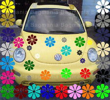 "VW beetle daisy 25 flowers ""You Pick 5 colors"" Volkswagon decal graphic sticker"
