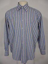 EQUILIBRIO STRIPES PAISLEY LONG SLEEVE DRESS SHIRT MEN'S XL