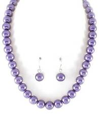 Purple Glass Faux Pearl Necklace Earring