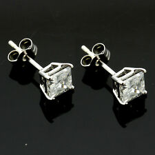 9ct White Gold Cubic 4mm Square Zirconia Stud Earrings Hand MADE IN UK -Free Box