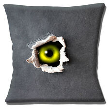 "NEW SCARY GREEN EYE PEEPING OUT OF COVER GREY GREEN 16"" Pillow Cushion Cover"