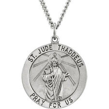 "SS 25mm Round St. Jude Thaddeus Medal 18"" Necklace"
