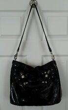 Donald J Pliner Black Patent Leather Purse Handbag Shoulder Bag Silver chains