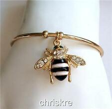 Gold Bumble Bee Bangle Bracelet Adjustable White Enamel Crystal Charm USA Seller