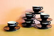 ACF Chaqwa  Espresso Cups & Saucers Set Black Ceramic Coffee Cups Made in Italy