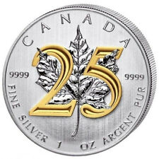 GILDED 2013 CANADIAN MAPLE LEAF 25TH 1 OZ SILVER COIN 24K GOLD GILD GILT