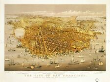 PAINTINGS DRAWING CITYSCAPE MAP SAN FRANCISCO 1878 BIRDS EYE VIEW POSTER LV3029