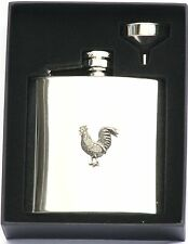 Chicken cockeral 6 oz Hip Flask Personalised Gift Bird Boxed FREE ENGRAVING