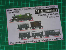 Millimodels GWS3 set Great Western 45xx 2-6-2T and goods train 1/200 scale