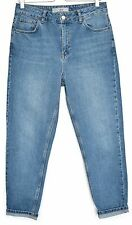 Topshop MOM High Waisted Vintage Blue Tapered Crop Jeans Size 12 W30 L30
