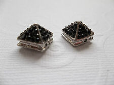 Silver Pyramid Spike Beads Black Crystal Pave 10mm Metal Spike Charms Pendants