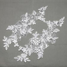 2 Pairs Off White Bridal Wedding Flower Floral Sequin Embroidered Lace Applique