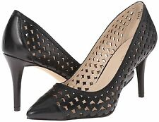 Nine West Porcupine Perforated Leather 8.5 Black Pump Pointed Stiletto New w Box