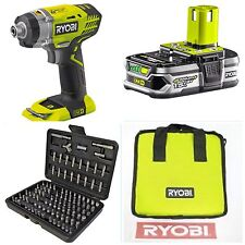 RYOBI 18v IMPACT DRIVER COMPLETE KIT+100 PIECE SECURITY SET