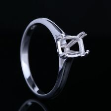 925 Sterling Silver Plate White Gold Cushion Wedding Ring Jewellery Semi Mount