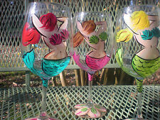 HAND PAINTED MERMAIDS IN ASSORTED COLORS 10 OUNCE GOBLETS / SET OF 4