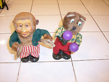 VINTAGE MONKEY WITH CYMBALS AND BEAR WITH MARACAS WIND UP MOVING TOYS