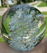 Crystal Clear Glass Round Crystal Ball Paper Weight Controlled Air Bubbles 3""
