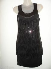 bebe S Black Dress Sequin Swirl Cocktail Shiny Tunic Racerback Club Party EUC