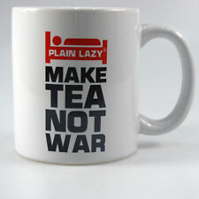 Novelty Mug Cup Make Tea Not War Plain Lazy Funny Gift Bluw Drink White