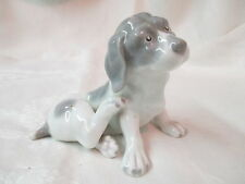 Antique Heubach Bros porcelain Puppy Dog Figurine grey & white signed OH