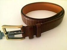 LEJON REMO TULLIANI ITALIAN LEATHER MEN'S BELT MADE IN USA DARK BROWN SIZE 36 US