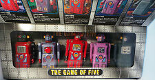 ROBOTS: THE GANG OF FIVE TIN PLATE WIND UP MODELS MADE BY MASUDAYA IN 1997